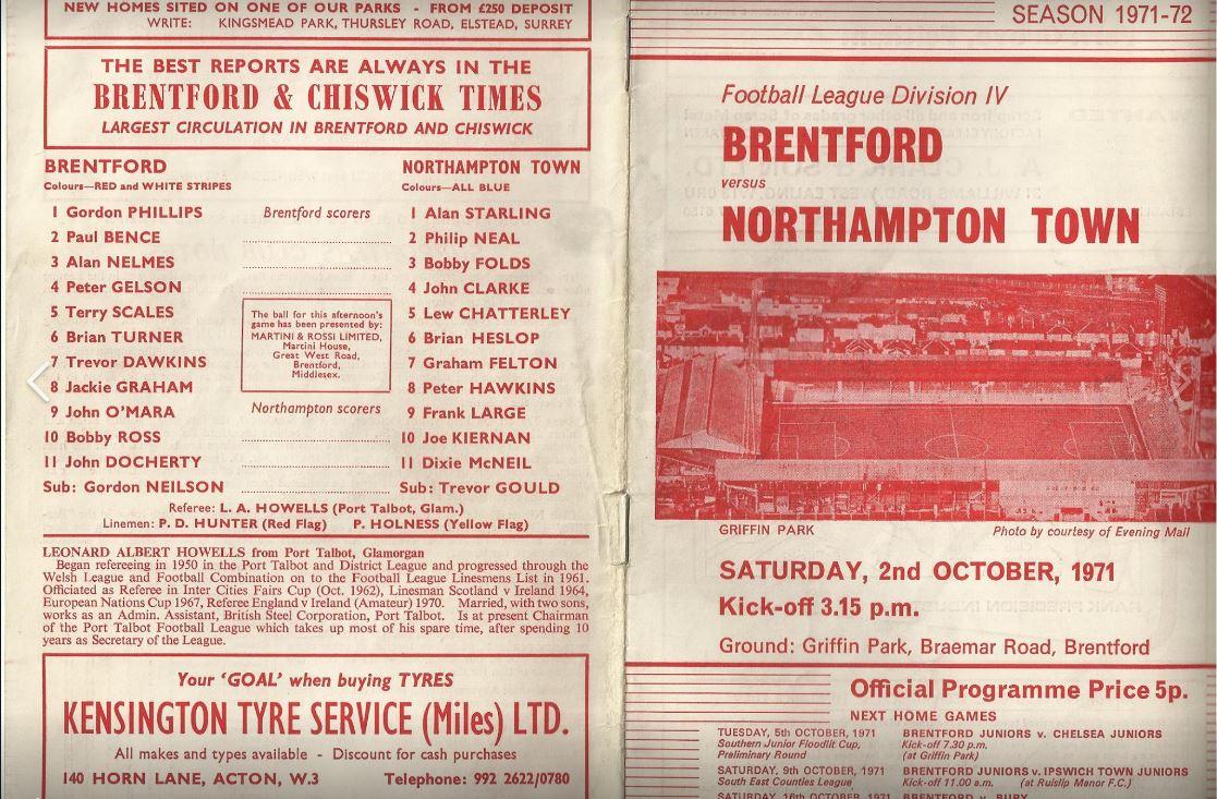 Brentford v Northampton programme cover
