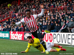 <i> Moses Odubajo of Brentford is tackled by Elliott Bennett of Blackburn Rovers during the Sky Bet Championship match between Brentford and Blackburn Rovers at Griffin Park, London<br /> Picture by Mark D Fuller/Focus Images Ltd +44 7774 216216 </i><i><br /> 02/02/2019</i>