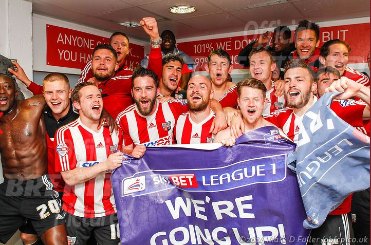 Alan Judge and his Brentford team-mates celebrate promotion