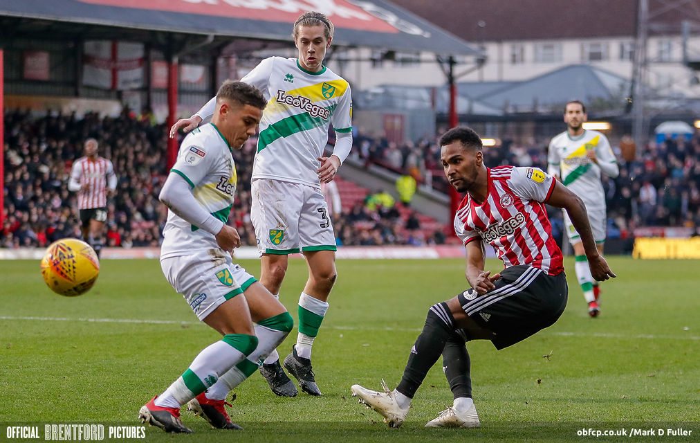 Rico Henry in action against Norwich on 1 January 2019
