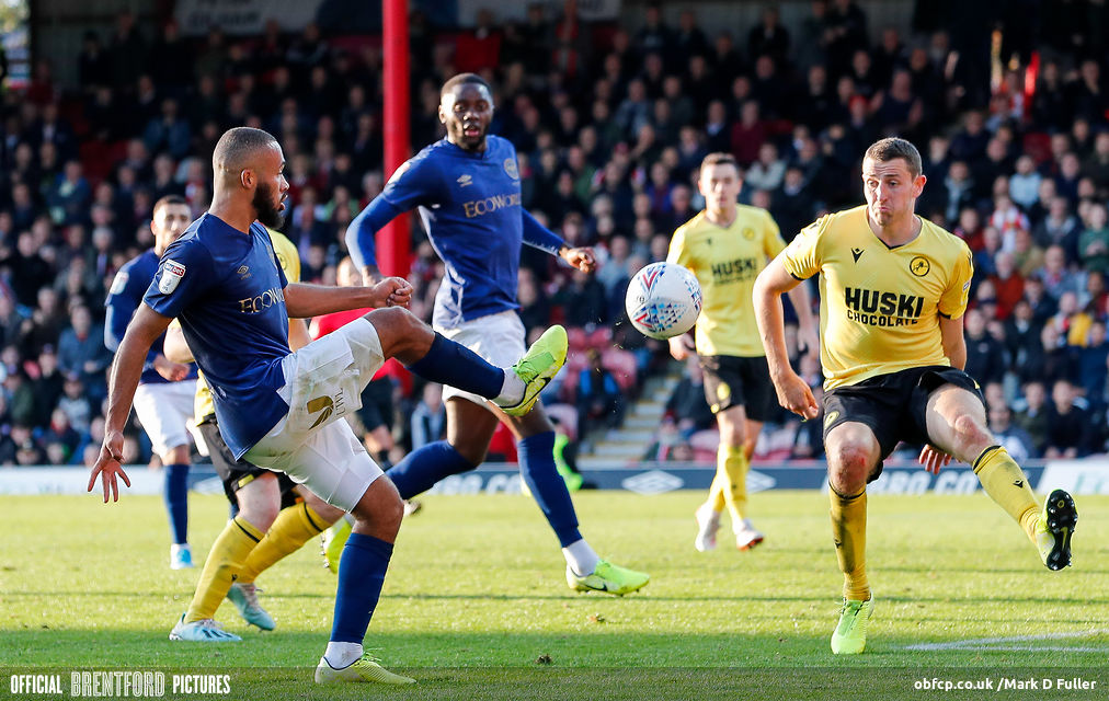 Bryan Mbeumo and Josh Dasilva in action against Millwall
